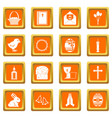 easter items icons set orange vector image vector image