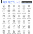 economics market thin line web icons set outline vector image