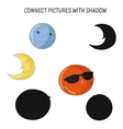 Educational game connect pictures with shadow vector image vector image