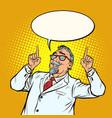 elderly doctor scientist smile index finger up vector image vector image