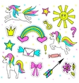 Fashion patch badges with unicorn sun crown vector image vector image