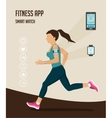 fitness icons for tracker and running vector image vector image