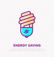 fluorescent bulb thin line icon energy saving vector image