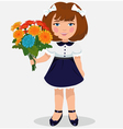 girl with a bouquet of flowers vector image