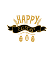 Golden Happy Easter lettering on white background vector image