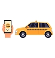 Hand holding phone with a taxi service app vector image vector image