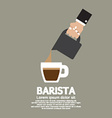 Hand With Coffee Pouring Jug Barista Concept vector image vector image
