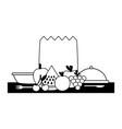 healthy food grocery bag fruits vegetables plate vector image vector image