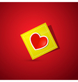 Heart on Yellow Paper on Dark Red Background vector image