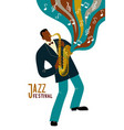 isolated black man playing sax cartoon character vector image