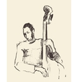 Jazz poster double bass music acoustic consept vector image vector image