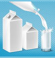 milk packaging set swirling in glass vector image