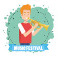 music festival live with man playing trumpet vector image vector image