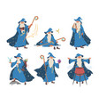 old wizard magician cartoon character set flat vector image