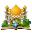 open a book with happy muslim family greeting in f vector image vector image