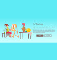 painting banner cheerful woman with paints set vector image vector image