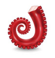 realistic 3d detailed red tentacle octopus vector image vector image