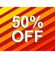Red striped sale poster with 50 PERCENT OFF text vector image vector image