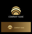 round curve technology gold logo vector image vector image