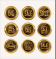 sale retro vintage gold and brown badges and vector image vector image
