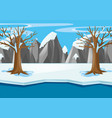 scene with snow field and river in winter vector image