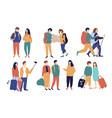 set colorful tourism couples vector image