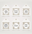 set of flourishes pattern decorated sale tags vector image
