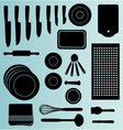 Silhouettes of Kitchenware icon vector image