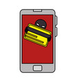 smartphone with hacker avatar character vector image vector image