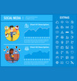 social media infographic template elements icons vector image vector image