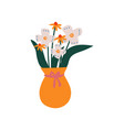 spring or summer colorful flowers in orange vase vector image vector image