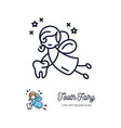 tooth fairy thin line art icons children vector image vector image