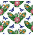 tropical seamless pattern with protea vector image vector image
