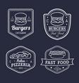 vintage fast food logos set retro eating vector image vector image