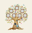 watercolor tree house with frames vector image vector image
