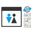 WC Persons Calendar Page Flat Icon With vector image vector image
