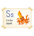 A letter S for squid vector image vector image