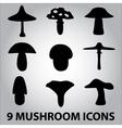 black symbols of mushroom types eps10 vector image vector image