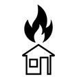 burning house icon vector image vector image