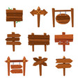 cartoon wooden arrows vintage wood sign boards vector image