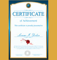 certificate or diploma blue template vector image vector image