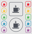coffee icon sign symbol on the Round and square vector image