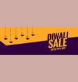 diwali festival sale banner with diya lamp vector image vector image