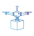 drone flying technology with box vector image