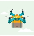 Drone quadcopter delivery product flat 3d vector image
