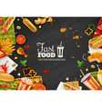 Fast Food Black Background Poster vector image vector image