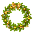 Fir Wreath with Golden Decorations vector image vector image