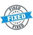 fixed round grunge ribbon stamp vector image vector image