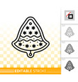 gingerbread cookie bell black line icon vector image