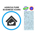 greenhouse rounded icon with set vector image vector image
